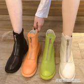 前拉錬平底網紅短靴女冬新款瘦瘦靴百搭英倫風帥氣馬丁靴秋款  英賽爾