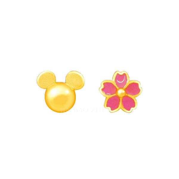 小花米奇黃金耳環-迪士尼系列金飾