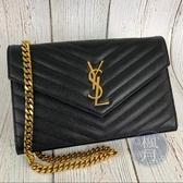BRAND楓月 YSL 360452 黑 魚子醬 V字紋 WOC 鍊包 手拿包 信封包