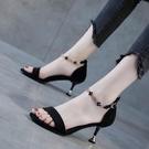 高跟鞋 彩色大東一字帶女時裝涼鞋夏季中跟百搭性感高跟鞋女細跟-Ballet朵朵