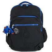 Kipling 黑色藍滾邊雙層鋪棉大後背包(可放電腦)-KI03980CN