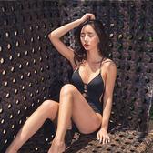 韓國新款交叉系帶高腰氣質綁帶大小胸露背連體比基尼鏤空泳衣女