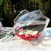魚缸 玻璃魚形缸 迷你小金魚缸 生態桌面茶幾創意時尚 觀賞魚缸烏龜缸 MKS阿薩布魯