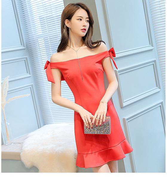 喜慶宴會相親約會雙肩蝴蝶結裝飾一字領無袖荷葉下擺長版上衣短洋裝 (紅 黑) 11850063