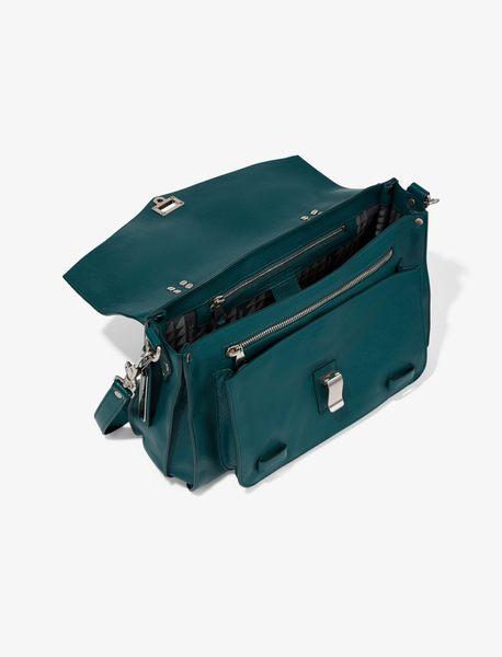 Proenza Schouler PS1 中款 山羊皮 手提 肩斜背 兩用包  深藍綠色