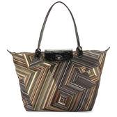 Longchamp OP ART幾何風格錯視條紋長提把手提水餃包-大(卡其色)480538-292