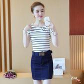 套裝夏季新款正韓時尚包臀裙子套裝女裝t恤上衣配牛仔短裙兩件套S-XL