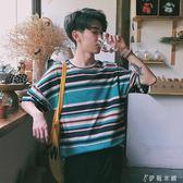 夏季新款短袖t恤男士衣服夏裝條紋體恤韓版潮情侶半袖男寬鬆上衣   伊鞋本鋪