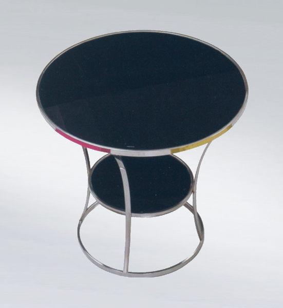 【 IS空間美學】75圓黑玻洽談沙發桌