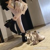 蝴蝶結絨面女裸靴及踝靴中跟chic女短靴秋季保暖女靴粗跟馬丁靴女(免運快出)