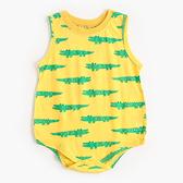 滿版動物圖案無袖三角包屁衣 黃色鱷魚 套裝 嬰兒裝 無袖包屁衣