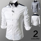 韓版 織帶 修身長袖男士襯衫 灰白两色入 E2062
