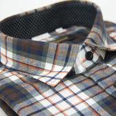 【金‧安德森】棕橘格紋保暖窄版長袖襯衫
