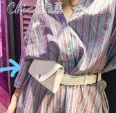 腰包 女錢包時尚女式休閒迷你手機包小pu皮帶扣「交換禮物」