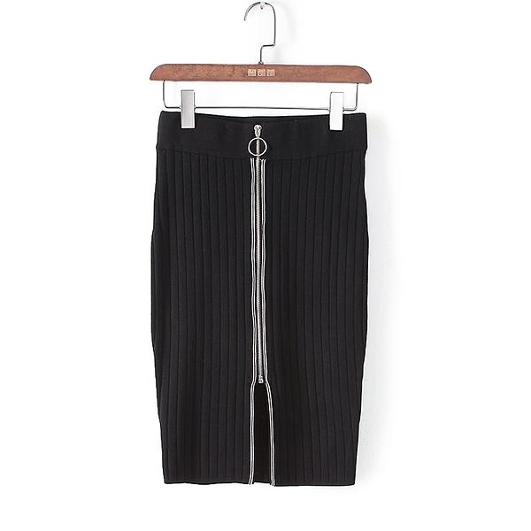 [超豐國際]格春夏裝女裝黑色拉鏈修身包臀小性感半身裙 415(1入)