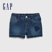 Gap女幼童 時尚水洗鬆緊牛仔短褲 542935-心形圖案