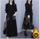L-5XL日系連帽外套~大碼外套~大碼加絨和不加絨兩款復古開衫印花連身裙潮039.R031A愛尚布衣