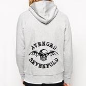 Avenged Sevenfold金屬拉鍊連帽刷毛外套-灰色 搖滾 樂團 metal