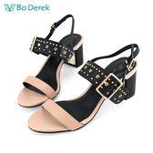 Bo Derek 英倫鉚釘方扣環高跟涼鞋-杏色