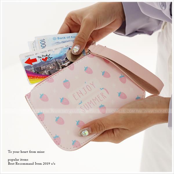 零錢包-輕盈盛夏手繪植物手拿零錢包-共4色-A09090202-天藍小舖