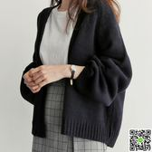 秋冬新款韓版寬鬆純色百搭短款針織衫女外搭毛衣外套慵懶風開衫潮 一件免運
