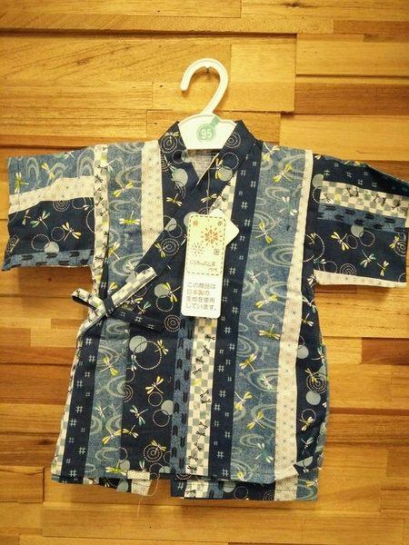 《西松屋》日本帶回【藍底拼布條紋款】日本傳統兒童浴衣/甚平/和服 衣+褲