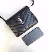 ■專櫃88折■ Saint Laurent 聖羅蘭 全新真品 YSL 467072 Mini Lou Lou 小羊皮相機包 黑色銀色LOGO