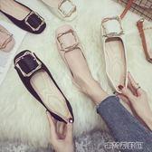 豆豆鞋女夏季新款韓版一腳蹬方頭淺口平底單鞋學生復古奶奶鞋 古梵希