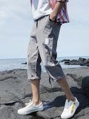 運動褲七分褲男士寬鬆韓版潮流夏季薄款7分褲夏天八分運動休閒六分短褲 嬡孕哺