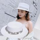 熱賣平頂帽水鑽平頂草帽m標帽子女沙灘出游帽時尚寬檐韓版百搭防曬平檐草帽 coco