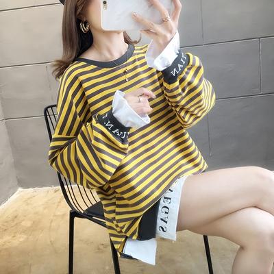 長袖T恤.春裝 ~ 長袖條紋上衣大版寬松假兩件條紋慵懶風薄款大學T恤M028韓衣裳