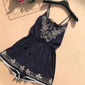新款夏季韓版刺繡吊帶連身褲修身休閒顯瘦短褲黑色性感裙褲女沙灘
