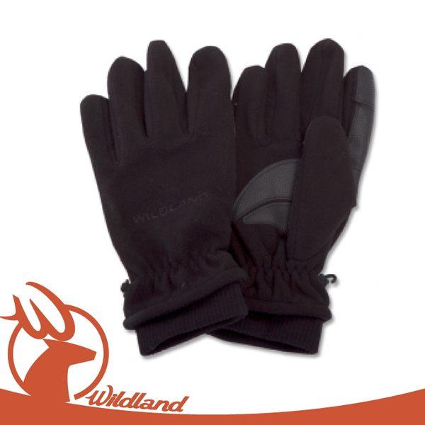 【Wildland 荒野 中性 防風保暖翻指手套《黑》】92003/超細天鵝絨/手心止滑/機車手套
