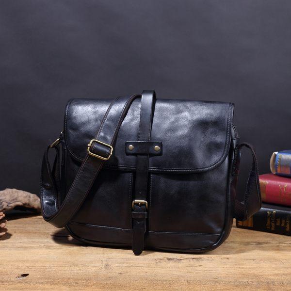 【Solomon 原創設計皮件】羅伯特 義大利水洗牛革 中性側背包