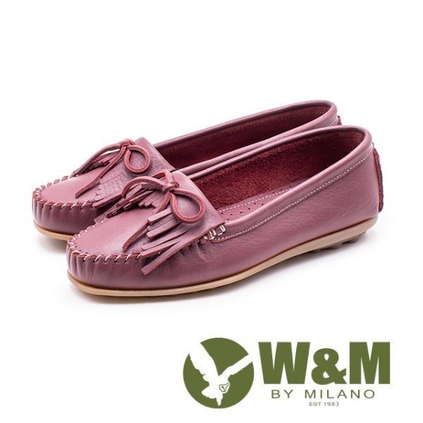 【南紡購物中心】W&M可水洗舒適柔軟蝴蝶結流蘇平底 女鞋 - 酒紅(另有白、藍、灰)