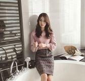 毛衣兩件套裙女秋季時尚毛呢包臀裙小香風時髦套裝連身裙