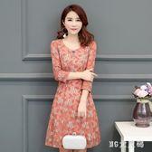 大尺碼連身裙 秋裝新款蕾絲中長款洋裝韓版女裝修身氣質碎花裙 EY4901『M&G大尺碼』