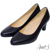 Ann'S通勤救星-全真羊皮杏仁尖楦中跟包鞋
