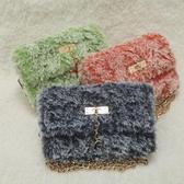 手工包包仿皮草珊瑚絨線包包手工DIY編織 立體繡網格板毛線包包單肩斜挎包 智慧e家