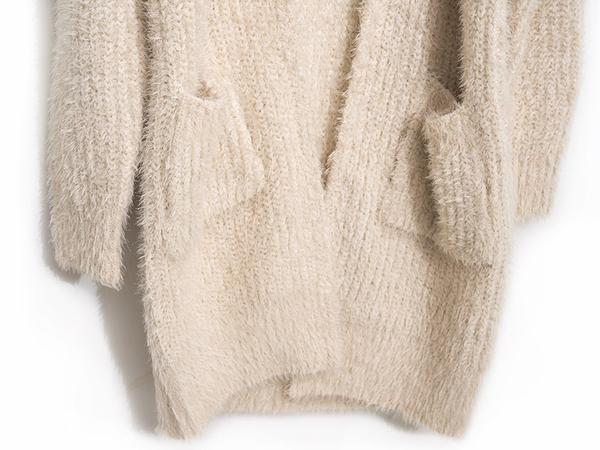 秋冬下殺↘5折[H2O]蓬鬆有份量舒適柔軟羽毛紗開襟中長版毛衣外套 - 卡/粉/淺紫色 #9650016