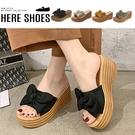 [Here Shoes] 前3後7cm拖鞋 輕量化ㄧ字蝴蝶結 仿木頭紋鞋底 圓頭楔型厚底拖鞋-KWS-19