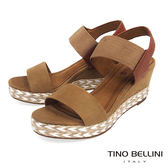 Tino Bellini 混搭異材質跳色麻編楔型涼鞋_ 棕 F83011