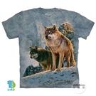 【摩達客】(預購)美國進口The Mountain 日落雙狼 純棉環保藝術中性短袖T恤