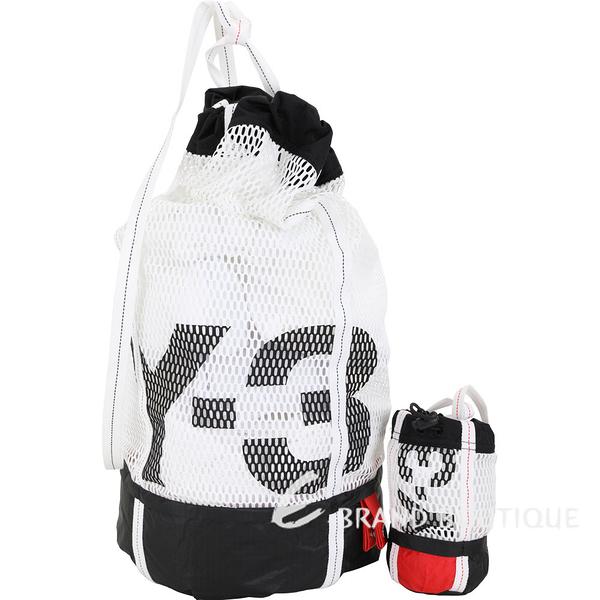 Y-3 Icon Gym Sack 網眼帆布尼龍筒狀運動後背包(白色) 1920514-20