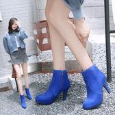 丁果、大尺碼女鞋34-44►韓版明星款絨皮尖頭高跟短靴*3色