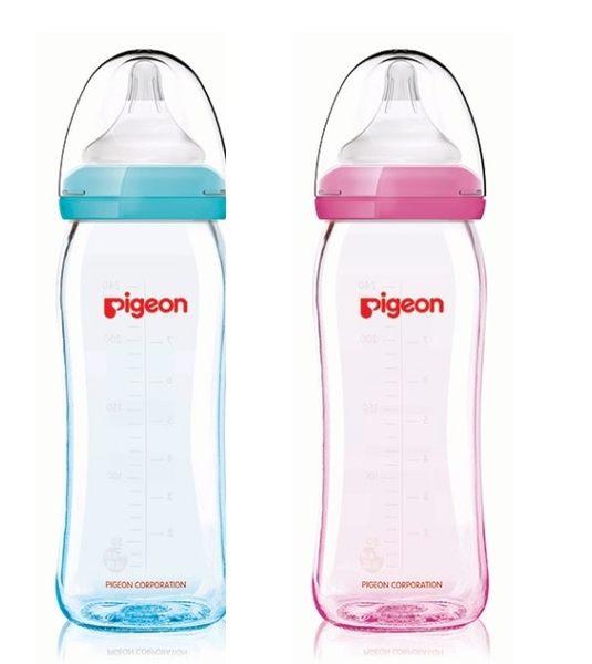 貝親 Pigeon 矽膠護層寬口母乳實感玻璃奶瓶240ml/粉(M奶嘴)P26739M