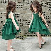 女童連身裙洋氣裙子童裝吊帶裙兒童公主裙正韓綠色  茱莉亞嚴選