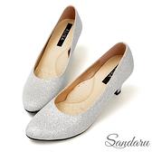 訂製鞋 奢華金蔥軟底尖頭中跟鞋-銀