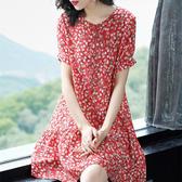大碼洋裝春夏裝韓版新款碎花連身裙女大碼女裝寬鬆顯瘦文藝范簡約媽媽裝潮 雲朵走走