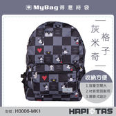 HAPITAS 後背包 H0006-MK1  格子灰米奇  摺疊後背包 收納方便 MyBag得意時袋